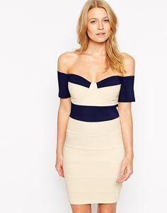 Rare Bardot Bandage Dress with Contrast Panels