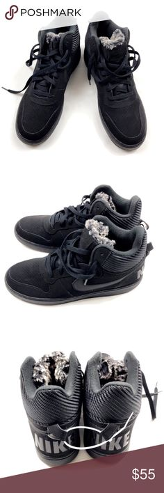 NWOB Nike Men's Court Borough Basketball Shoes Nike Court Borough Basketball Shoes Size: 11 Color: Black with Fur NWOB Nike Shoes Sneakers