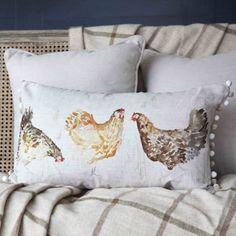 Voyage Maison Chicken Run Cushion with Pom Poms - Voyage Maison from Niche Living UK