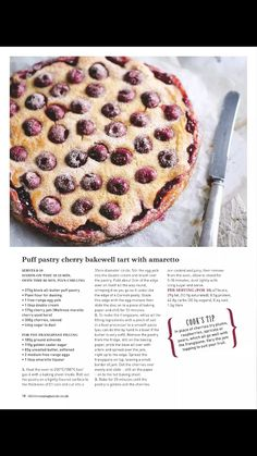 puff pastry cherry bakewell tart with amaretto