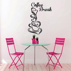 Coffee Break Wall Decal Vinyl Sticker Decals Coffee Cup Cafe Pattern Heart Kitchen Decor Dining Room Interior Murals Window Decal AN744