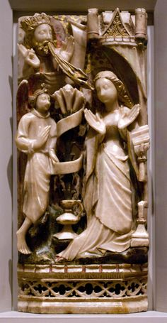 Annunciation, alabaster with paint and gilding 15th c. Nottingham