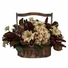Silk daisy arrangement in a distressed wood basket.  Product: Faux floral arrangementConstruction Material: Silk, plastic and woodColor: MultiFeatures: For indoor use onlyDimensions: 14 H x 20 W x 13 D