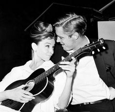 Audrey Hepburn and George Peppard on the set of Breakfast at Tiffany's (1961)