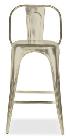 Sleek Statement. Rev up your dining space with the Holden splat-back barstool, a vintage-inspired chair that perfects the industrial imperfect look. Featuring the hip appeal of lustrous nickel metal, this stool features seating with smooth lines and sleek designs.