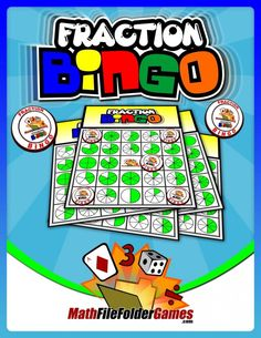 Fraction Bingo Game http://www.mathfilefoldergames.com/fraction-bingo/ #MathGame FREE  More free #math ideas here: https://www.teacherspayteachers.com/Store/Mathfilefoldergames/Price-Range/Free