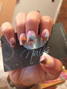 Nails art, acrylic nails, ice cream nails