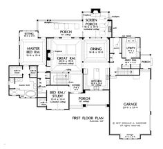 The Trenton 1417 is now in progress! Check out the first floor plan of The Trenton, house plan 1417. #WeDesignDreams                                                                                                                                                                                 More