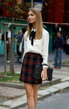 Outfits and Looks, Ideas & Inspiration A tartan skirt with a white blouse shirt and neck tie. This back to school outfit will make you look irresistible Adrette Outfits, Polyvore Outfits, Fashion Outfits, Preppy Fashion, Preppy Skirt Outfits, Preppy Outfits For School, Preppy College Fashion, Fashion News, Party Outfits