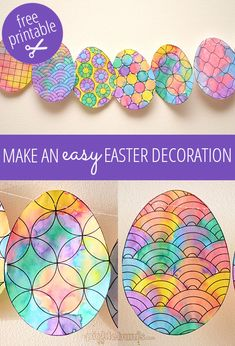 Make an Easy Easter Decoration. Use the free printable template to make this gorgeous Easter decoration with your kids. Easter Art, Hoppy Easter, Easter Eggs, Easter Bunny, Easter Activities For Kids, Easter Crafts For Kids, Spring Crafts, Holiday Crafts, Spring Art