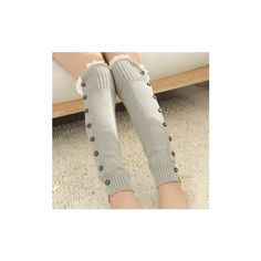 Fashion Korean Style Knitting Boots Long Stocking Long Leg Protective... (£6.97) ❤ liked on Polyvore featuring intimates, hosiery and light gray