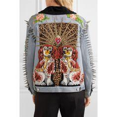 Gucci Calf hair-paneled embellished denim jacket (23,130 SAR) ❤ liked on Polyvore featuring outerwear, jackets, leopard jacket, oversized jean jacket, dog jean jacket, denim jacket and embellished jackets
