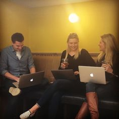 Yaz, Eddy and Cat at WeWork Soho - catching up with people and working on Paycircle..