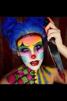 Nicole Guerriero's killer clown Halloween makeup, best makeup I've seen out there - sexy but scary! And yes I'm doing this..