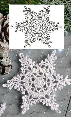 Free Crochet Snowflake Patterns, Free Crochet Doily Patterns, Christmas Crochet Patterns, Crochet Snowflakes, Crochet Motif, Diy Crochet, Crochet Doilies, Crochet Flowers, Crochet Hooks