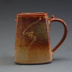 Handmade Stoneware Pottery Square Mug Earthtones  by MarksPottery, $26.00