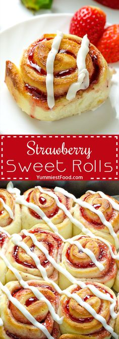 Strawberry Sweet Rolls with Vanilla Cream Cheese Glaze - perfect for every occasion and so easy and quick to make! Strawberry Sweet Rolls with Vanilla Cream Cheese Glaze - moist, delicious and tasty! Right way to start your day!