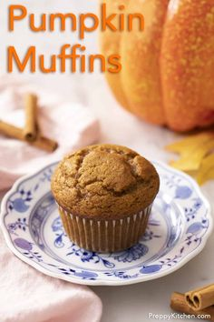 These soft and tender pumpkin muffins come together in just a few minutes and will stay soft for days! Perfectly sweet, loaded with all your favorite fall spices, and of course lots of pumpkin flavor.
