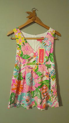 b16bb03055c Lilly Pulitzer Nosey Posie Fit Flare Tank Top S