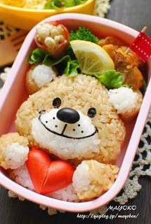 Bear Bento! How about this bear with Rice Krispie Treats?  Add a bit more marshmallow to the white areas, and a bit of food coloring to the rests for the contrast!!! adorable and fun!