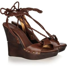 Diane von Furstenberg Wooden-wedge leather sandals (495 PLN) ❤ liked on Polyvore featuring shoes, sandals, wedges, heels, wood heel sandals, wedge heel sandals, heeled sandals, wood platform sandals and brown wedge sandals