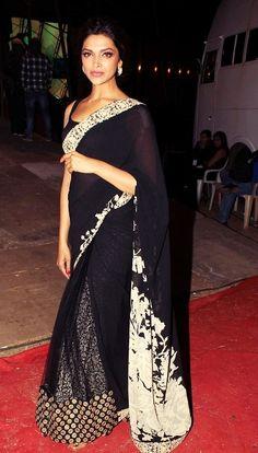 I dont like the print of the sari much. bt love how she has a lacy designed peticoat under the sheer sari! Sabyasachi Sarees, Indian Sarees, Lehenga Saree, Indian Wedding Fashion, Indian Bridal, Bridal Sari, India Wedding, Deepika Padukone, Sonam Kapoor