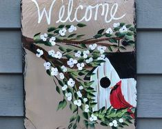 Painted Slates Door Decor Welcome Signs by LindaSpangArt