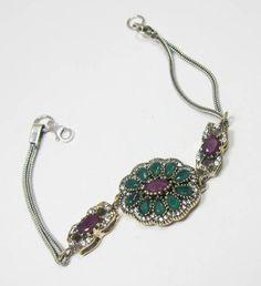 Turkish Jewelry Silver Bronze Emerald Ruby Gemstone Dazzling Bracelet UK - 7102 #SilvestoIndia #Friendship