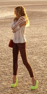 neon shoes with leopard leggings