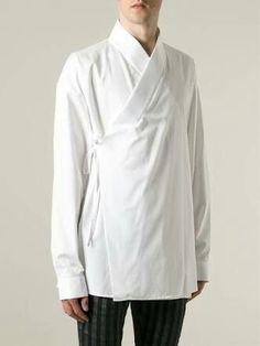Haider Ackermann White Kimono Shirt for men Kimono Shirt, Male Kimono, Kimono Coat, Coat Dress, Men Dress, Dress Outfits, Fashion Outfits, Fashion Trends, Dresses