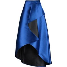 Badgley Mischka - Draped Wrap-effect Satin-twill Maxi Skirt (19.240 RUB) ❤ liked on Polyvore featuring skirts, royal blue, satin skirt, royal blue maxi skirt, long blue skirt, long skirts and blue skirt