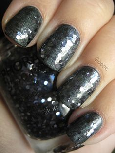 Sephora by OPI - To the Glitter End over ManGlaze Fuggen Ugly (amazing gun metal hex glitter)