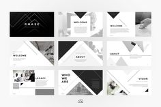 Keynote - Phase - For those looking for a professional presentation, 'Phase' offers a modern angular design packed with a wealth of features. Mise En Page Portfolio, Portfolio Design, Powerpoint Design Templates, Keynote Template, Booklet Design, Creative Powerpoint, Flyer Template, Graphisches Design, Layout Design