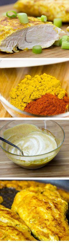 Curry-Paprika Marinade mit Joghurt, einfach und mit wenigen Zutaten.