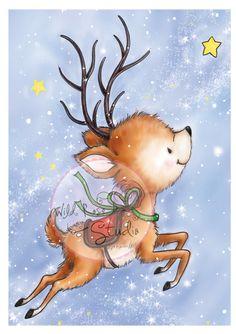Wild Rose Studio - Reindeer Flying - bjl