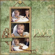 """""""Two Brothers"""" Digital Scrapbooking Layout by Erica Hite"""