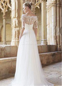 Robe de mariée traîne a-ligne décoration dentelle avec manche avec manches - photo 2