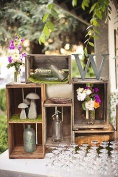 vintage crate wedding drink table decor