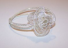 Delicate, Unique, OOAK, Statement Bracelet With Silver Roses by IacobJewelry on Etsy Silver Roses, Statement Jewelry, Heart Ring, Plating, Delicate, Bracelets, Unique, Rings, Etsy