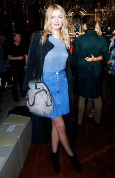 Lily Donaldson was '70s perfection in a button-front skirt and furry purse at the Stella McCartney F/W 15 Show at Paris Fashion Week