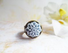 Brass ring with a grey blue dahlia flower, Selma Dreams romantic bridal accessories, bridesmaids gifts by SelmaDreams on Etsy