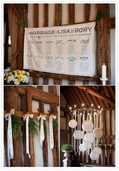 typographic wedding reception seating chart banner