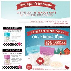 Day 9 of the 16 Days of Christmas (December 9, 2015)  Bath Bombs $14 (reg. $18)...you'll want to get in on this deal! #bathbombs  Please visit my website (www.2poshyou.com) to order and join my Facebook VIP group (Donna G's Heart 2 Posh You VIPs  Link: https://www.facebook.com/groups/401830130011346) to learn about all the great products and specials!