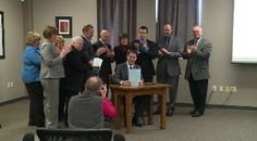Gov. Scott Walker made a stop in Eau Claire Thursday to visit Wisconsin Independent Network and sign a new bill into law.