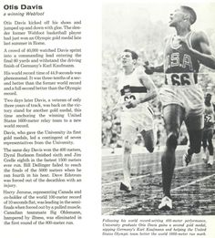 Recap of 1960 Oregon track & field, including the two gold medal performance of Otis Davis. From the 1961 Oregana (University of Oregon yearbook). www.CampusAttic.com