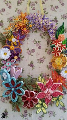 Quilling by ♧ The Quilling Fairies ♧ Floral wreath for Spring / Easter - March 2016