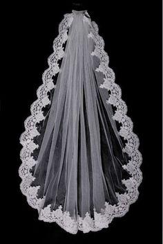 Custom Make Vintage White Ivory Wedding Veil Bridal by dresstalk