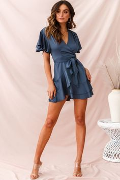 ee29c24e766 Cami Angel Sleeve Faux Wrap Dress Blue