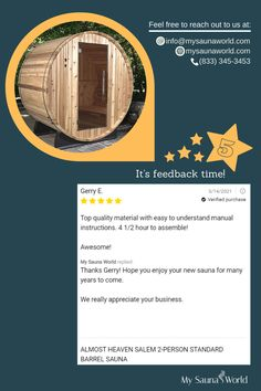 Our customers choose our saunas not only because they are very easy to assemble, but also because the materials are top quality. Get your sauna here! Barrel Sauna, Traditional Saunas, Outdoor Sauna, Low Humidity, Steam Room, Heaven, World, Easy, Top