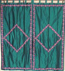"Green Trellis Fine Embroidered Curtains - 2 Elegant Indian Window Treatments Panels 82"""